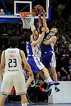 Real Madrid´s Gustavo Ayon and Anadolu Efes´s Cedi Osman and Nenad Krstic during 2014-15 Euroleague Basketball Playoffs match between Real Madrid and Anadolu Efes at Palacio de los Deportes stadium in Madrid, Spain. April 15, 2015. (ALTERPHOTOS/Luis Fernandez)