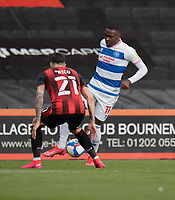 Queens Park Rangers' Bright Osayi-Samuel (right) under pressure from Bournemouth's Diego Rico (left) <br /> <br /> Photographer David Horton/CameraSport<br /> <br /> The EFL Sky Bet Championship - Bournemouth v Queens Park Rangers - Saturday 17th October 2020 - Vitality Stadium - Bournemouth<br /> <br /> World Copyright © 2020 CameraSport. All rights reserved. 43 Linden Ave. Countesthorpe. Leicester. England. LE8 5PG - Tel: +44 (0) 116 277 4147 - admin@camerasport.com - www.camerasport.com
