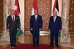 Palestinian president Mahmoud Abbas (R), Egyptian President Abdel Fattah al-Sisi (C), and Jordanian King Abdullah II(L), attend the tripartite summit, in cairo, Egypt, on September 02, 2021. Photo by Thaer Ganaim