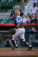 Florida Fire Frogs catcher Lucas Herbert (34) tracks a pop up during a game against the St. Lucie Mets on April 19, 2018 at Osceola County Stadium in Kissimmee, Florida.  St. Lucie defeated Florida 3-2.  (Mike Janes/Four Seam Images)