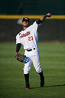 Tri-City ValleyCats Gilberto Celestino (23) warms up before a game against the Vermont Lake Monsters on June 16, 2018 at Joseph L. Bruno Stadium in Troy, New York.  Vermont defeated Tri-City 6-2.  (Mike Janes/Four Seam Images)
