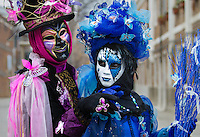 Blue and Pink Butterflies<br /> Venice Carnival Mask<br /> Italy