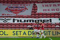3rd October 2020; Riverside Stadium, Middlesbrough, Cleveland, England; English Football League Championship Football, Middlesbrough versus Barnsley; Chuba Akpom of Middlesbrough Celebrates scoring Middlesbrough's 2nd goal