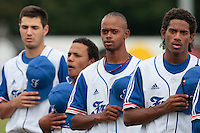 19 August 2010: David Van Heyningen of Team France is seen during the national anthem next to Luis de la Rosa, Gary Garcia Martinez, Joris Navarro, prior to France 7-6 win over Slovakia, at the 2010 European Championship, under 21, in Brno, Czech Republic.