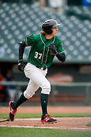 Great Lakes Loons designated hitter Mitchell Hansen (37) runs to first base during a game against the Burlington Bees on May 4, 2017 at Dow Diamond in Midland, Michigan.  Great Lakes defeated Burlington 2-1.  (Mike Janes/Four Seam Images)