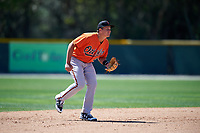 Baltimore Orioles Ryan Mountcastle (48) during a minor league Spring Training game against the Boston Red Sox on March 16, 2017 at the Buck O'Neil Baseball Complex in Sarasota, Florida.  (Mike Janes/Four Seam Images)