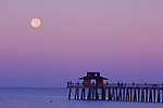 USA, FL, Naples, Full Moon Over Naples Pier at Dawn