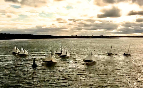"""""""A picturesque but pessimistic sky"""" – Friday evening's race was sailed with an ominously watery sunset. Photo: Brian Maguire"""