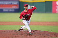 Pitcher Oddainer Mosqueda (7) of the Greenville Drive in a game against the Hickory Crawdads on Friday, June 18, 2021, at Fluor Field at the West End in Greenville, South Carolina. (Tom Priddy/Four Seam Images)