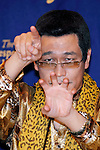 Japanese comedian Pikotaro (Piko Taro) speaks during a press conference at the Foreign Correspondents' Club of Japan on October 28, 2016, Tokyo, Japan. Pikotaro (real name Kazuhito Kosaka and also known by his stage name Daimaou Kosaka) received a certificate from Guinness World Record for his song ''PPAP'' for being the shortest song ever to enter the Billboard Hot 100. With over 130 million YouTube views, the song has inspired countless imitators uploading their original versions. Celebrities like the Canadian pop star Justin Bieber helped promote the song by sharing PPAP as his favorite video on the internet via his Twitter account. (Photo by Rodrigo Reyes Marin/AFLO)