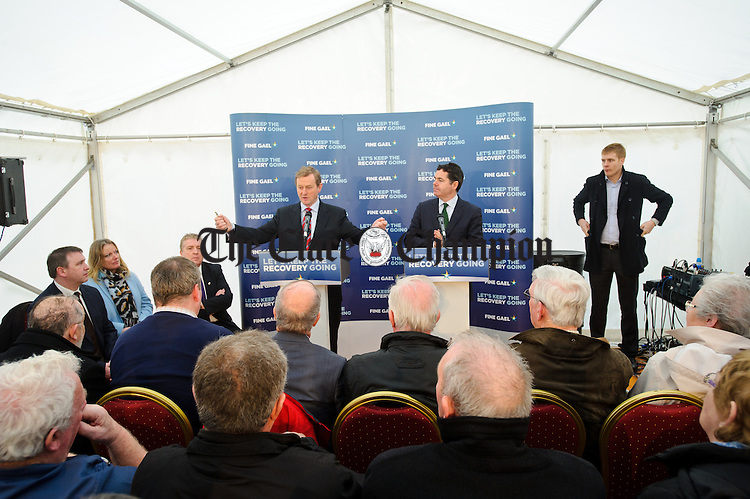 Enda Kenny, Taoiseach speaking watched by Tourism Minister Paschal Donohoe,TD during his visit to Loop Head to launch the Fine Gael tourism initiative. Photograph by John Kelly.