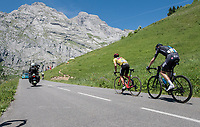 a from teammates isolated Richie Porte (AUS/BMC) is forced to set the pace up the Col de la Colombière in pursuit of other GC contenders up ahead and with Chris Froome (GBR/SKY) in tow<br /> <br /> 69th Critérium du Dauphiné 2017<br /> Stage 8: Albertville > Plateau de Solaison (115km)
