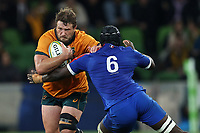 13th July 2021; AAMI Park, Melbourne, Victoria, Australia; International test rugby, Australia versus France; James Slipper of Australia runs with the ball as Diallo (Fra) challenges
