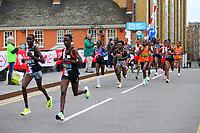 3rd October 2021; London, England: The Virgin Money 2021 London Marathon: Leading group of elite women's runners crossing Narrow Street Swing Bridge, Limehouse Basin between mile 14 and 15.