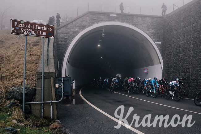 Mist for the peloton coming out of the Passo del Turchino tunnel (532m); the highest point of the race<br /> <br /> 109th Milano-Sanremo 2018<br /> Milano > Sanremo (291km)