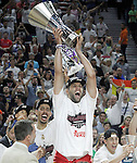 Real Madrid's Felipe Reyes, Gustavo Ayon and Jaycee Carroll celebrate the victory in the Euroleague Final Match in presence of King Felipe VI of Spain. May 15,2015. (ALTERPHOTOS/Acero)