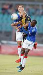 01.08.2019 Progres Niederkorn v Rangers: Emmanuel Francoise with Nikola Katic and Glen Kamara