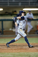 Will LaRue (10) of the Xavier Musketeers follows through on his swing against the Penn State Nittany Lions at Coleman Field at the USA Baseball National Training Center on February 25, 2017 in Cary, North Carolina. The Musketeers defeated the Nittany Lions 7-5 in game two of a double header. (Brian Westerholt/Four Seam Images)