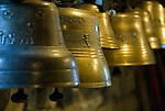 CHE, SCHWEIZ, Kanton Bern, Berner Oberland, Ballenberg bei Brienz: Schweizerisches Freilichtmuseum fuer laendliche Kultur - Schweizer Kuhglocken | CHE, Switzerland, Bern Canton, Bernese Oberland, Ballenberg near Brienz: Swiss open-air museum for rural culture - Swiss cowbells