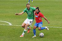 Albi Skendi of Yeovil Town and Sam Deering of Dagenham and Redbridge during Dagenham & Redbridge vs Yeovil Town, Vanarama National League Football at the Chigwell Construction Stadium on 17th October 2020