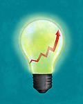 Illustrative image of light bulb with upward moving arrow representing business idea development