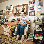 96 year old Lina Sharp at Blue Eagle Ranch, Railroad Valley, Nye County, Calif.