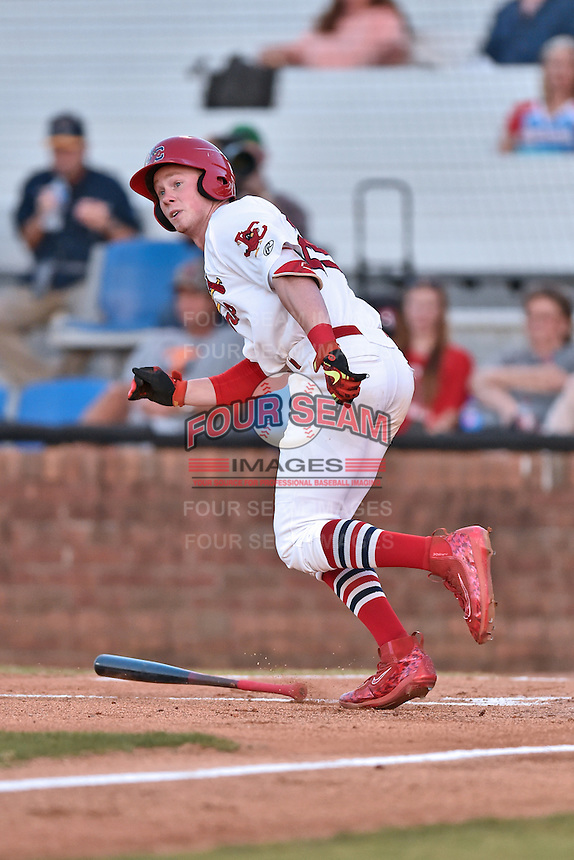 Johnson City Cardinals third baseman Bryce Denton (25) runs to first base during Game Two of the Appalachian League Championship series against the Burlington Royals at TVA Credit Union Ballpark on September 7, 2016 in Johnson City, Tennessee. The Cardinals defeated the Royals 11-6 to win the series 2-0.. (Tony Farlow/Four Seam Images)