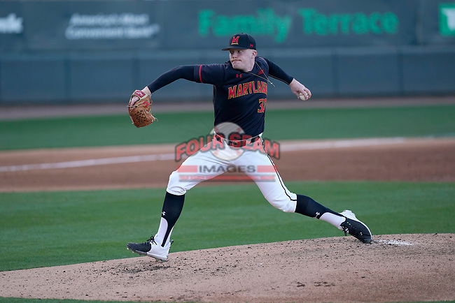 Starting pitcher Sean Fisher (30) of the Maryland Terrapins in a game against the Michigan State Spartans on Saturday, March 6, 2021, at Fluor Field at the West End in Greenville, South Carolina. (Tom Priddy/Four Seam Images)
