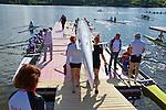 Rowing, Canada, Canadian Women's Eight, 8+, From bow: Emma Darling, Cristy Nurse, Janine Hanson, Rachelle De Jong, Krista Guloien, Ashley Brzozowicz, Darcy Marquardt, Adreanne Morin, Lesley Thompson-Willie, launching the eight to begin workout, Thursday, November 4, 2010, 2010 FISA World Rowing Championships, Lake Karapiro, Hamilton, New Zealand,