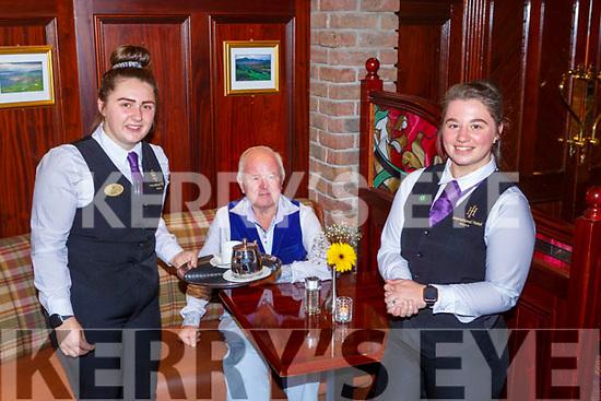 Sean O'Donoghue was waited on by  Aoife Cullen left and  Ellen Moynihan in the International Hotel restaurant Killarney on Monday