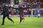 Aberdeen v St Johnstone....01.02.14   League Cup Semi-Final<br /> Two fans run onto the pitch halfway through the second half<br /> Picture by Graeme Hart.<br /> Copyright Perthshire Picture Agency<br /> Tel: 01738 623350  Mobile: 07990 594431