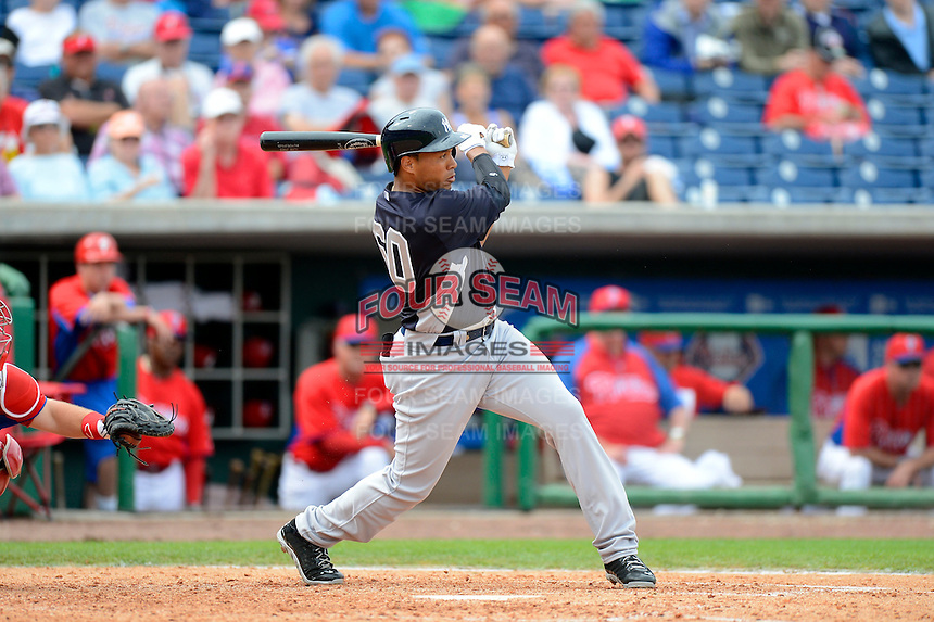 New York Yankees outfielder Thomas Neal #60 during a Spring Training game against the Philadelphia Phillies at Bright House Field on February 26, 2013 in Clearwater, Florida.  Philadelphia defeated New York 4-3.  (Mike Janes/Four Seam Images)