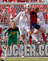 Spain defender Sergio Ramos (15) and USA defender Jonathan Spector (2) battle for head ball in the goal mouth. In a friendly match, Spain defeated USA, 4-0, at Gillette Stadium on June 4, 2011.
