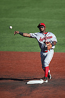 Yonny Hernandez (7) of the Spokane Indians throws to first base during a game against the Hillsboro Hops at Ron Tonkin Field on July 23, 2017 in Hillsboro, Oregon. Spokane defeated Hillsboro, 5-3. (Larry Goren/Four Seam Images)