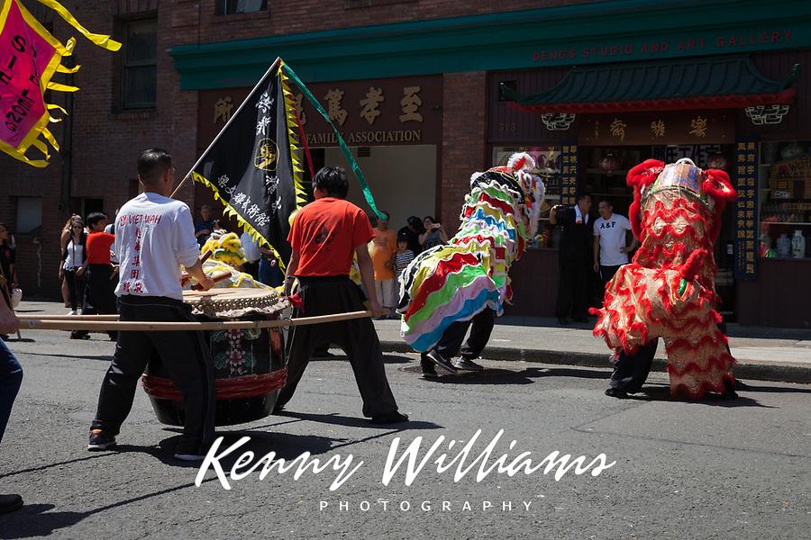 Lion Dance & Taiko Drummers, Dragon Fest 2015, Chinatown, Seattle, Washington, USA