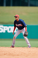 Atlanta Braves Juan Morales (24) during a Florida Instructional League game against the Canadian Junior National Team on October 9, 2018 at the ESPN Wide World of Sports Complex in Orlando, Florida.  (Mike Janes/Four Seam Images)