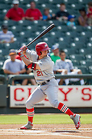 Memphis Redbirds outfielder Randal Grichuk (21) at bat during the first game of a Pacific Coast League doubleheader against the Round Rock Express on August 3, 2014 at the Dell Diamond in Round Rock, Texas. The Redbirds defeated the Express 4-0. (Andrew Woolley/Four Seam Images)