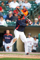 Rochester Red Wings shortstop Jorge Polanco (1) at bat during a game against the Lehigh Valley IronPigs on July 4, 2015 at Frontier Field in Rochester, New York.  Lehigh Valley defeated Rochester 4-3.  (Mike Janes/Four Seam Images)