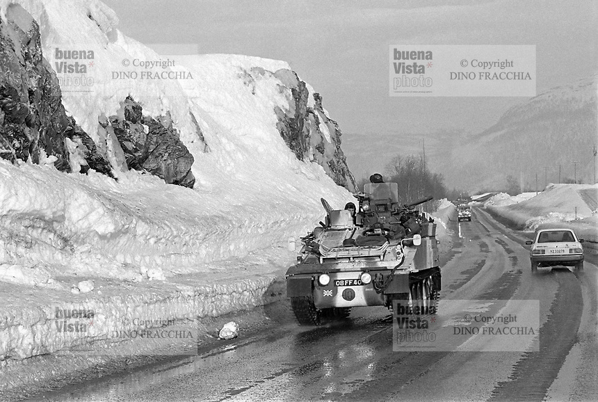 - NATO exercises AMF (Allied Mobil Force) in Norway, february 1986;  armored vehicle of the English army<br /> <br /> - Esercitazioni NATO AMF (Allied Mobil Force) in Norvegia, febbraio 1986; veicolo blindato dell'esercito Inglese