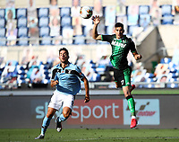 Football, Serie A: S.S. Lazio - Sassuolo, Olympic stadium, Rome, July 11, 2020. <br /> Sassuolo's Mert Muldur (r) in action with Lazio's Jonathan Menendez (l) during the Italian Serie A football match between S.S. Lazio and Sassuolo at Rome's Olympic stadium, Rome, on July 11, 2020. <br /> UPDATE IMAGES PRESS/Isabella Bonotto