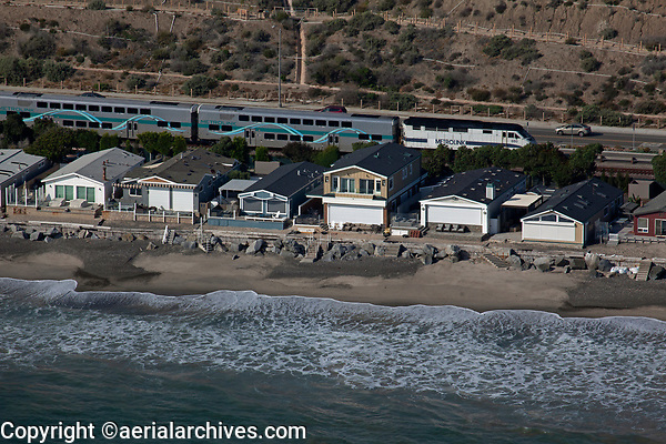 aerial photograph of the Metrolink commuter train at San Clemente, San Diego County, California