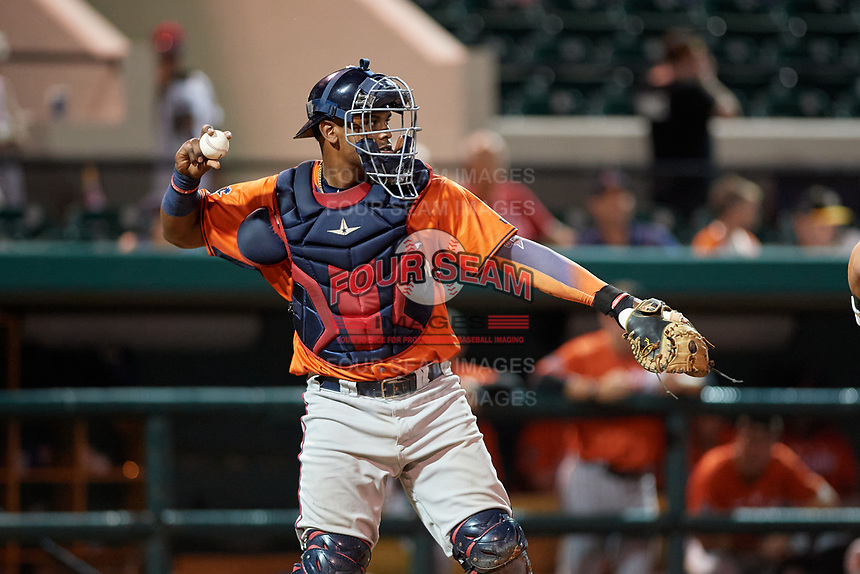 Fort Myers Miracle catcher Brian Navarreto (31) during the Florida State League All-Star Game on June 17, 2017 at Joker Marchant Stadium in Lakeland, Florida.  FSL North All-Stars defeated the FSL South All-Stars  5-2.  (Mike Janes/Four Seam Images)