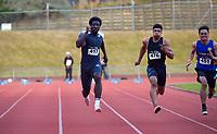 Edward Osei-Nketia (left) wins the elite men's 100m. 2021 Capital Classic athletics at Newtown Park in Wellington, New Zealand on Saturday, 20 February 2021. Photo: Dave Lintott / lintottphoto.co.nz