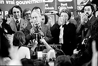 November 15 1976 File photo - Montreal , Quebec,  CANADA - Candidates of the Parti Quebecois celebrate the 1976 victory with the party leader Rene Levesque , November 15 1976 at Centre Paul Sauve.