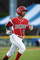 Batavia Muckdogs second baseman Giovanny Alfonzo (8) runs to first during a game against the Mahoning Valley Scrappers on June 23, 2015 at Dwyer Stadium in Batavia, New York.  Mahoning Valley defeated Batavia 11-2.  (Mike Janes/Four Seam Images)