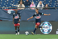 FOXBOROUGH, MA - AUGUST 5: Jake Rozhansky #32 of New England Revolution II passes the ball during a game between North Carolina FC and New England Revolution II at Gillette Stadium on August 5, 2021 in Foxborough, Massachusetts.