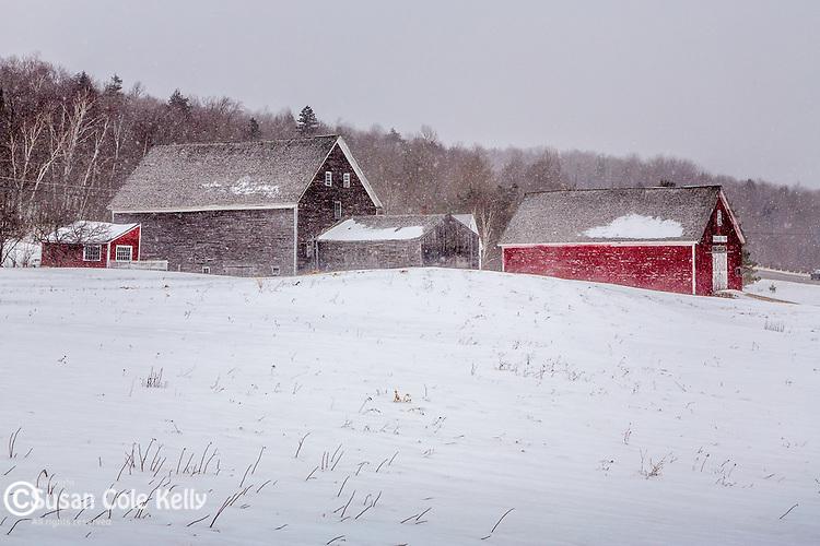 Winter farm in Randolph, New Hampshire, USA