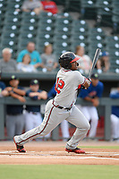 Center fielder Jeremy Fernandez (12) of the Rome Braves bats in a game against the Columbia Fireflies on Tuesday, June 4, 2019, at Segra Park in Columbia, South Carolina. Columbia won, 3-2. (Tom Priddy/Four Seam Images)