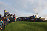 180719 | The 148th Open - Day 1<br /> <br /> The first tee box stand at the start of the 148th Open Championship at Royal Portrush Golf Club, County Antrim, Northern Ireland. Photo by John Dickson - DICKSONDIGITAL