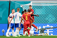 ST PETERSBURG, RUSSIA - JUNE 12 :  Thomas Meunier defender of Belgium celebrates scoring a goal with teammate Romelu Lukaku forward of Belgium pictured during the 16th UEFA Euro 2020 Championship Group B match between Belgium and Russia on June 12, 2021 in St Petersburg, Russia, 12/06/2021 <br /> Photo Photonews / Panoramic / Insidefoto <br /> ITALY ONLY